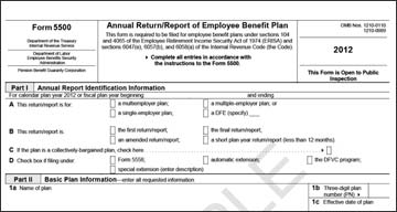 Form 5500 - ERISA plans with 100 or more participants are required